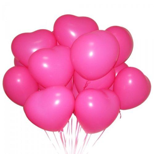 Набор из 15 розовых воздушных шаров сердец одного размера