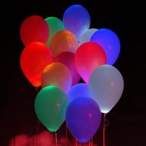Набор из 15 разноцветных светящихся воздушных шаров
