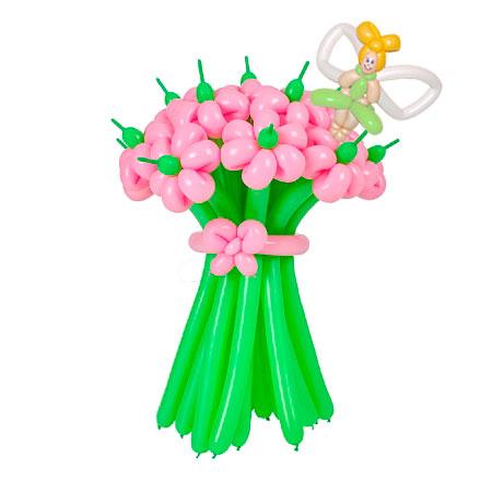 Букет из 15 розовых ромашек с феей из воздушных шаров