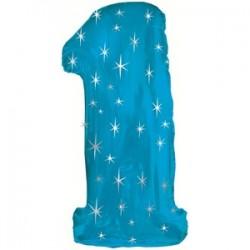 Шар 107 см Цифра 1 Синий