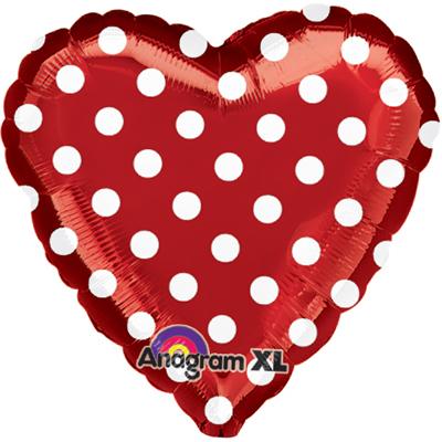 Шар 46 см Сердце Горошек на красном