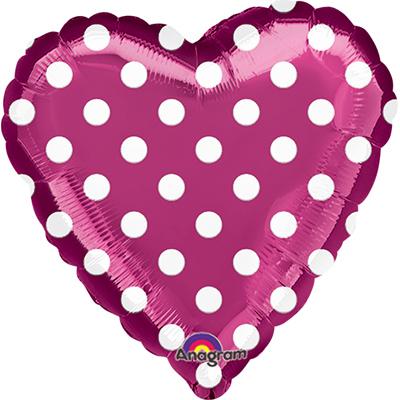Шар 46 см Сердце Горошек на фиолетовом