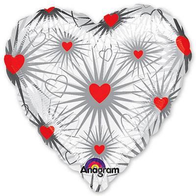 Шар 46 см Сердце Калейдоскоп сердец Прозрачный