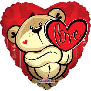 Шар 46 см Сердце Медвежонок с сердцем