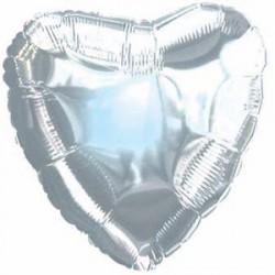 Шар 46 см Сердце Серебро