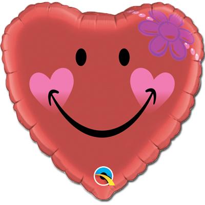 Шар 46 см Сердце Улыбка сердце с маргариткой