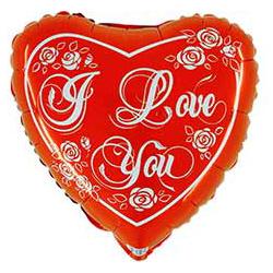 Шар 46 см Сердце с розами красное