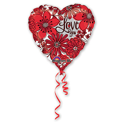 Шар 46 см Сердце I Love you Цветы красные