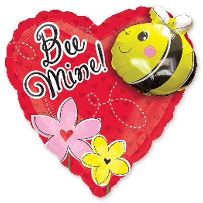 Шар 81 см Фигура Сердце с пчелой