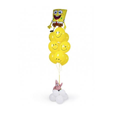 Фонтан с Губкой Бобом и Патриком и смайликами - воздушными шарами