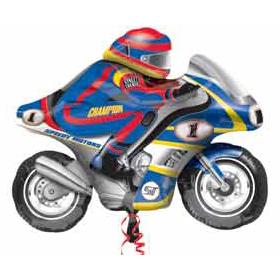 Шар 84 см Фигура Мотоцикл голубой