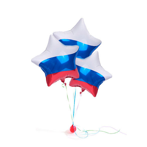 Фонтан патриотический с 3 звездами триколор из воздушных шаров