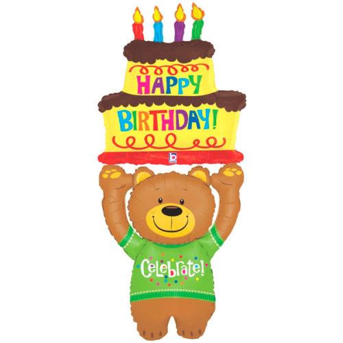 Ходячая фигура 150 см Медведь С днем рождения