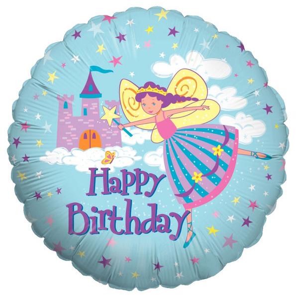 Шар 46 см Круг Фея-Принцесса С днем рождения