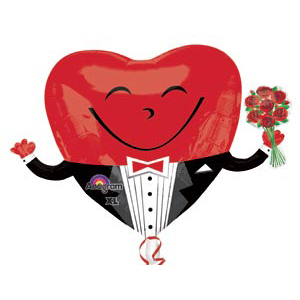 Шар 91 см Фигура Сердце в смокинге с букетом