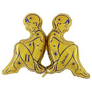 Шар 102 см Фигура Зодиак Близнецы золотой