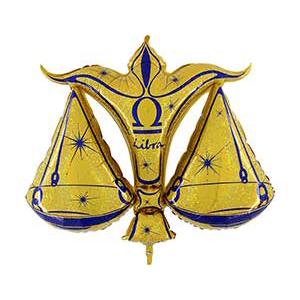 Шар 102 см Фигура Зодиак Весы золотой