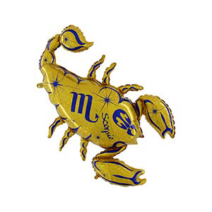 Шар 102 см Фигура Зодиак Скорпион золотой