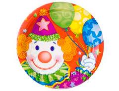 Тарелка бумажная 23 см Клоун 8 шт