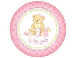Тарелка бумажная 23 см Медвежонок Девочка 8 шт