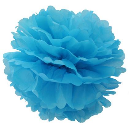 Помпон 20 см голубой