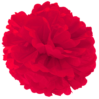 Помпон 30 см красный