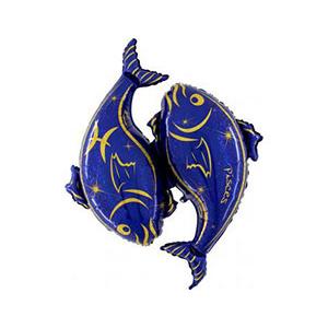 Шар 127 см Фигура Рыбы синий
