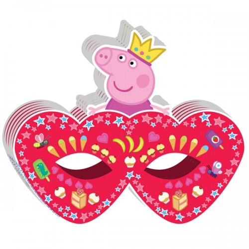 Маска бумажная Пеппа-принцесса 6 шт