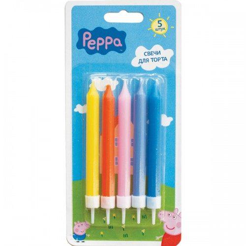 Набор свечей с держателями 7см Свинка Пеппа 5 шт
