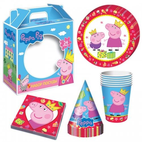 Подарочный набор посуды 24 предмета Свинка Пеппа Peppa Pig на 6 персон
