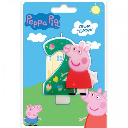 Свеча цифра 2 Свинка Пеппа 8 см