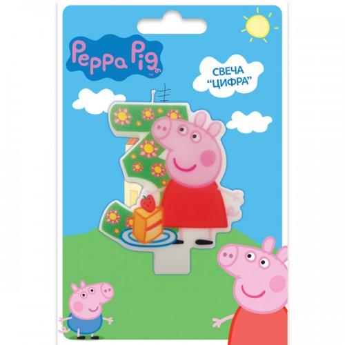 Свеча цифра 3 Свинка Пеппа 8 см