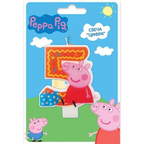 Свеча цифра 5 Свинка Пеппа 8 см