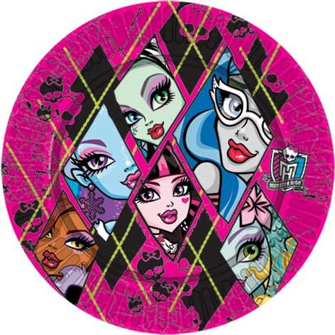 Тарелка бумажная 23 см Monster High 10 шт
