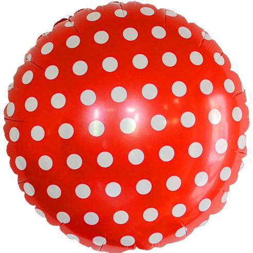 Шар 46 см Круг Точки Красный