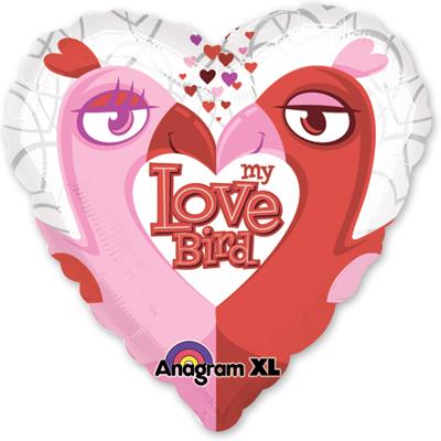 Шар 81 см Сердце Love птички