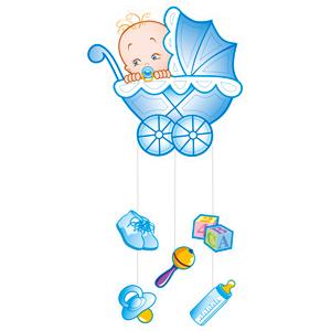 Бумажное украшение подвеска голубая С Днем рождения Малыш