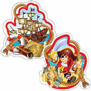 Бумажное украшение подвеска спираль 16 см Веселый Пират 6 шт