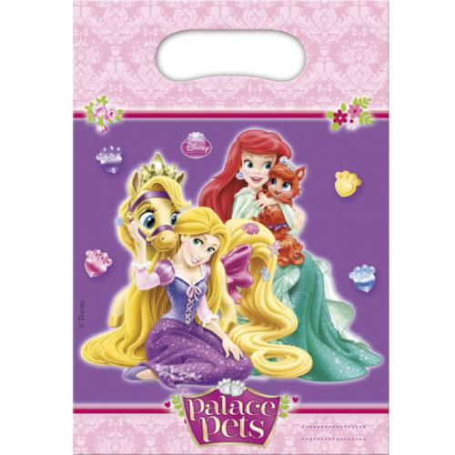 Пакетики для подарка 22 х 16см Принцессы Диснея с питомцами 6 штук