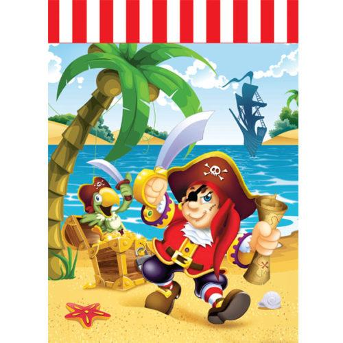 Пакетики для подарка 23х16,5см Веселый Пират 6 шт