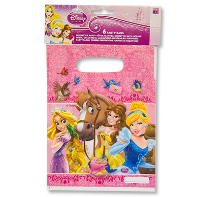 Пакетики для сувениров 16х22 см Принцессы и животные 8 шт