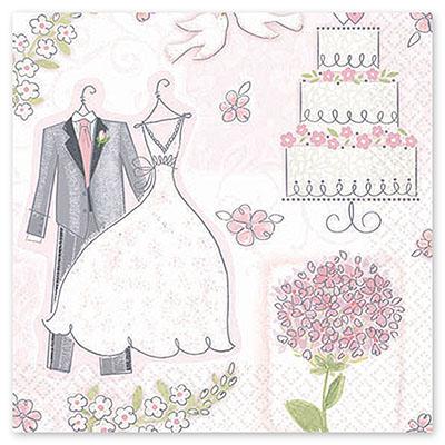 Салфетка 33 см Свадьба Romantic 16 шт