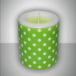 Свеча фонарик зеленая Горошек ароматизированная