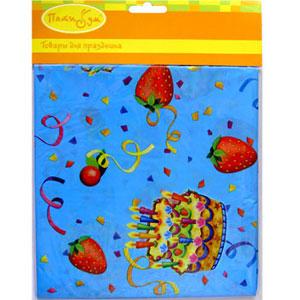 Скатерть полиэтиленовая Праздничный торт 140см х 180см