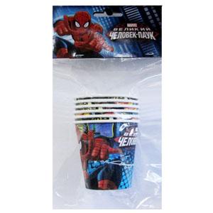 Стаканы бумажные 200 мл Человек-Паук 6 штук
