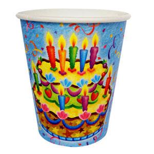 Стаканы бумажные 250 мл Праздничный торт 6 штук