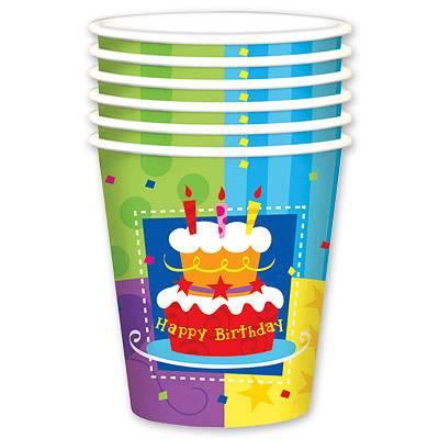 Стакан бумажный 190 мл Торт Birthday 6 шт