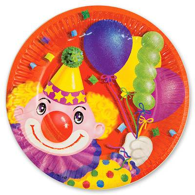 Тарелка бумажная 17 см Клоун с шарами 6 шт