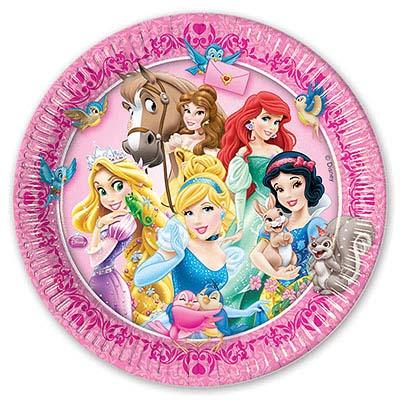 Тарелка бумажная 20 см Принцессы и животные 8 шт