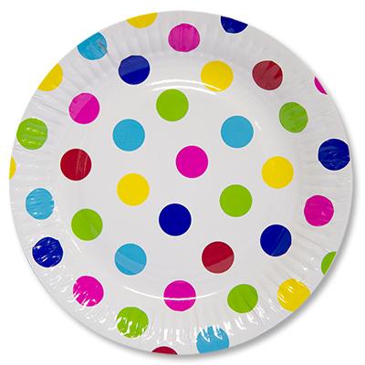 Тарелка бумажная 23 см Горошек мульти 6 шт